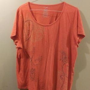 Cute Orange Top w/ Details, Size Plus 2X
